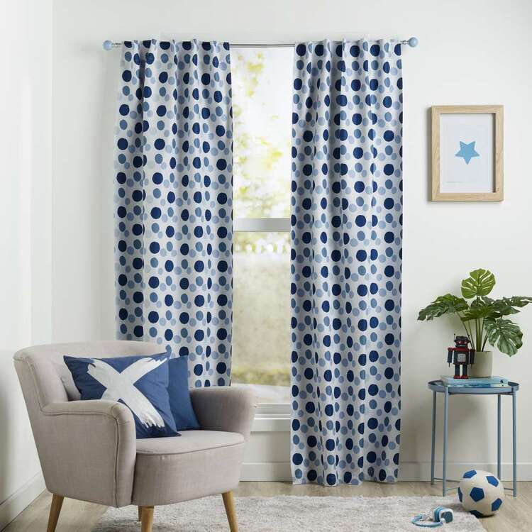 Koo Kids Archie Dots Printed Blockout Concealed Tab Curtains