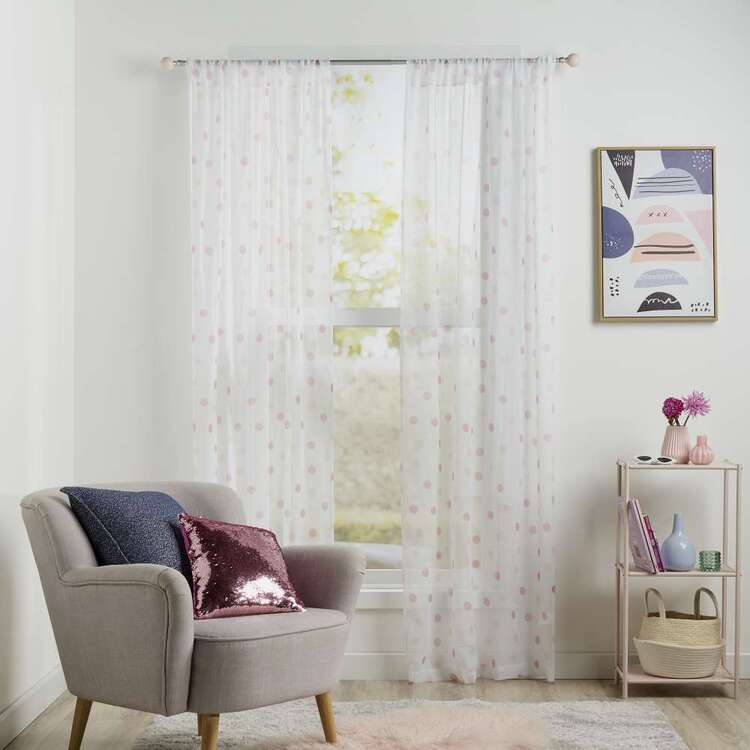 Koo Kids Chloe Dots Printed Sheer Rod Pocket Curtains
