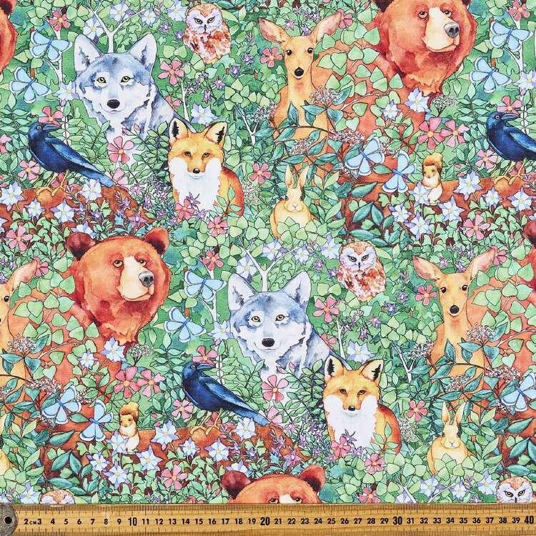Woodland Fantasy Animals Leaves Cotton Fabric