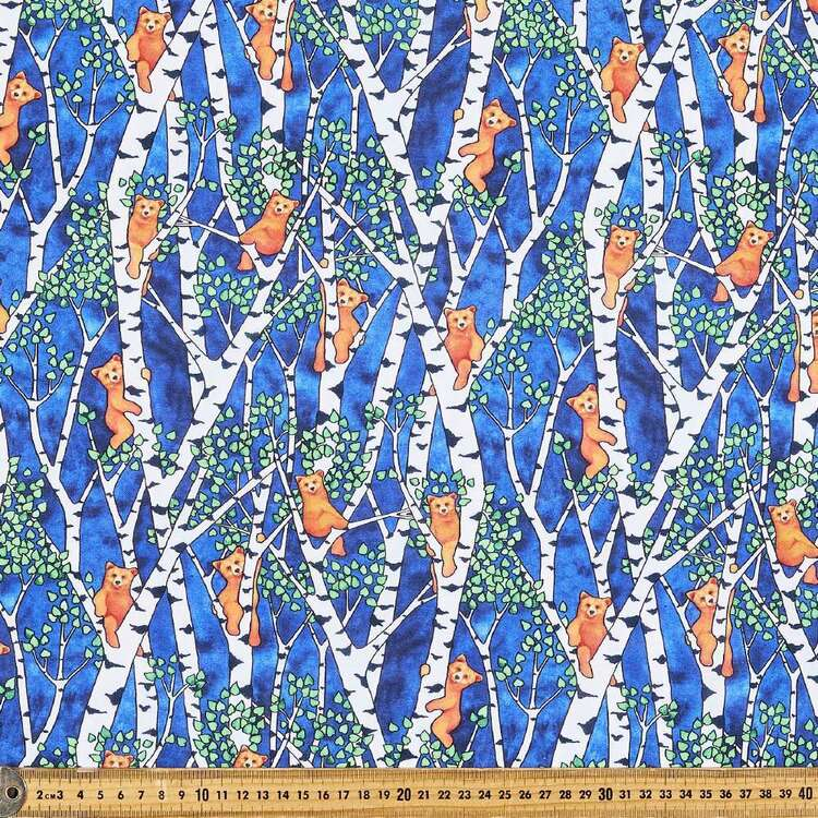 Woodland Fantasy Bears In Trees Cotton Fabric