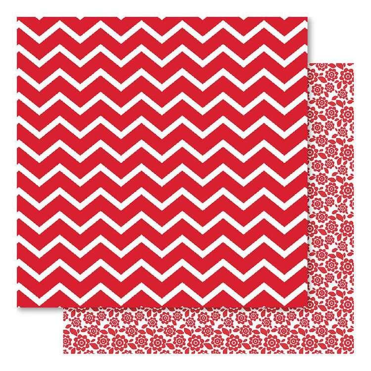 Bella Red Fusion Chevron Cardsotck Paper