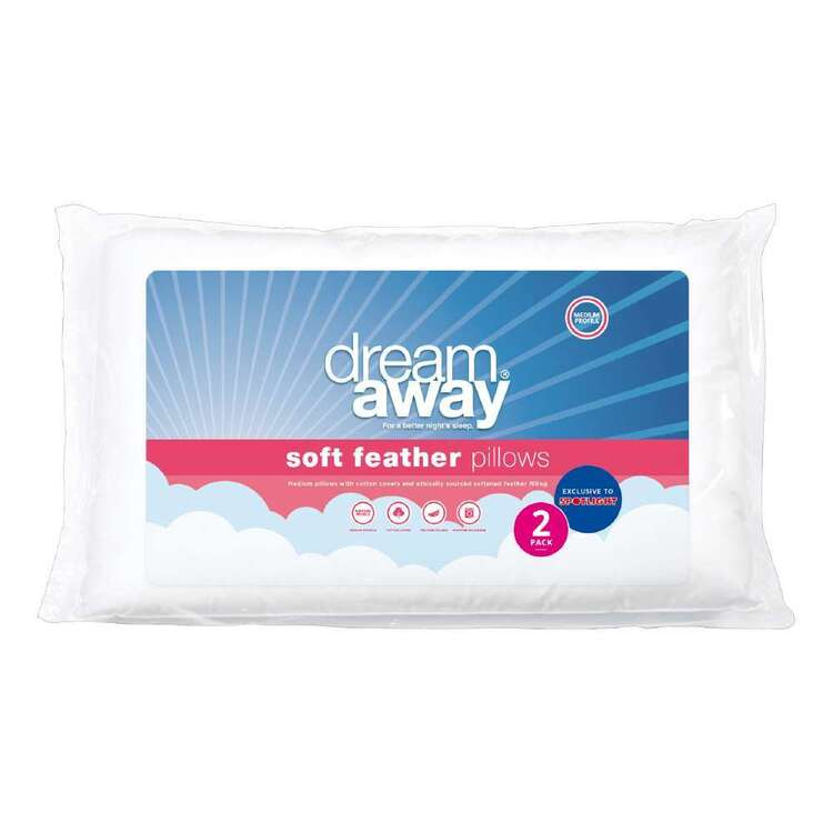 Dream Away Soft Feather Standard Pillow 2 Pack