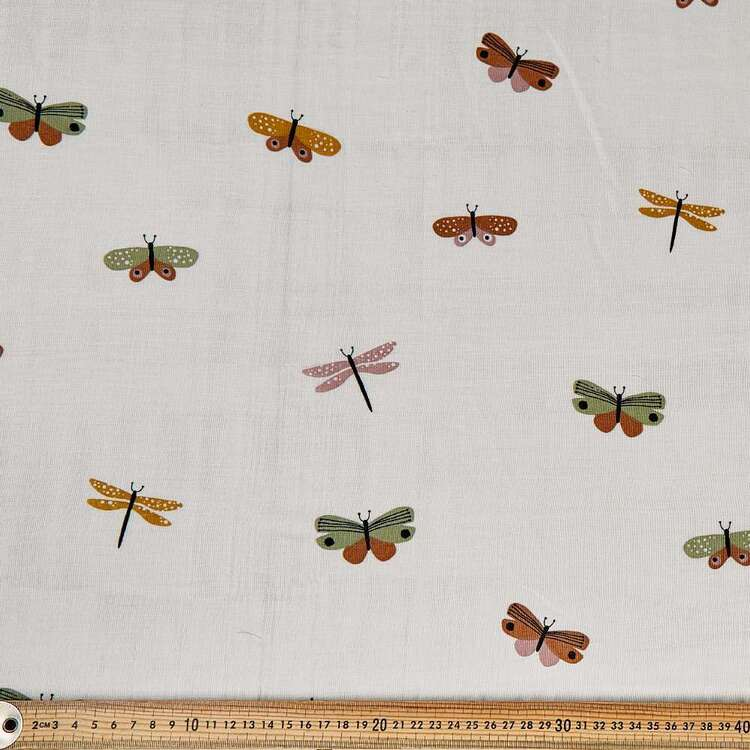 Butterfly Printed 130 cm Crinkle Double Cloth Fabric