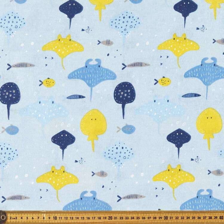 Ocean Rays Printed Cotton Multipurpose Fabric