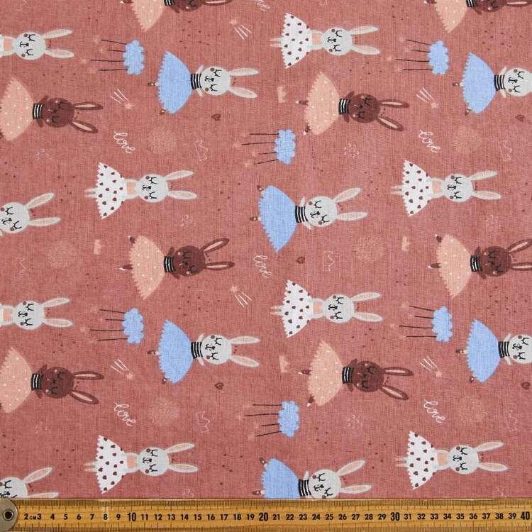 Bunny Ballet Printed Cotton Multipurpose Fabric
