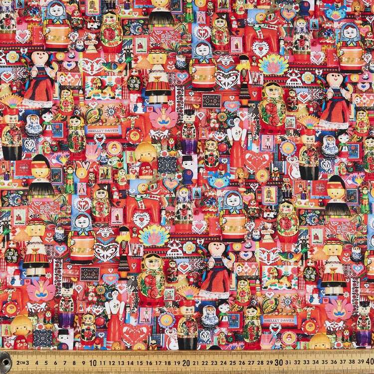 Robert Kaufman Nesting Dolls Cotton Fabric Multicoloured 112 cm