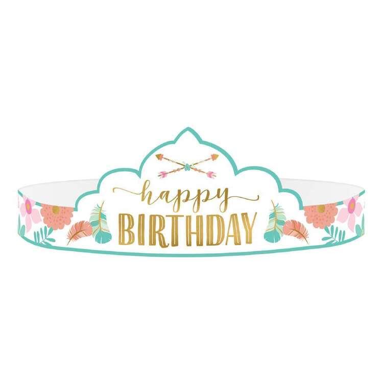 Amscan Boho Birthday Girl Paper Tiara 8 Pack