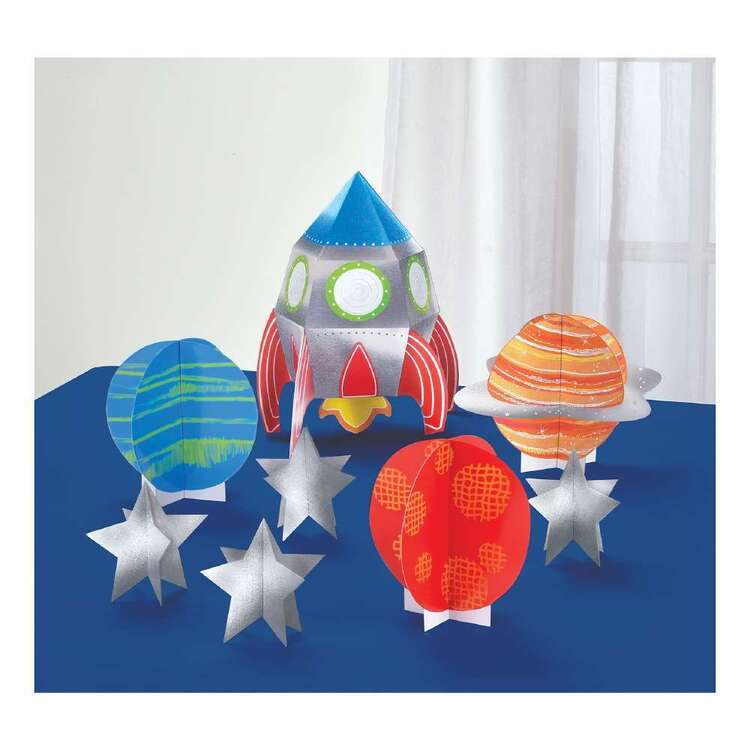 Amscan Blast Off Birthday 3D Table Decorating Kit 8 Pieces