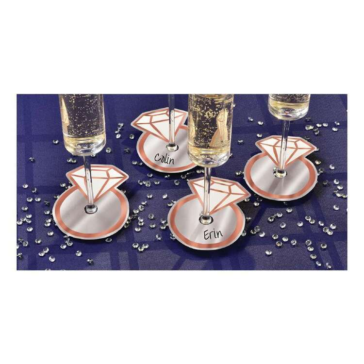 Amscan Navy Bride Glass Tags 18 Pack
