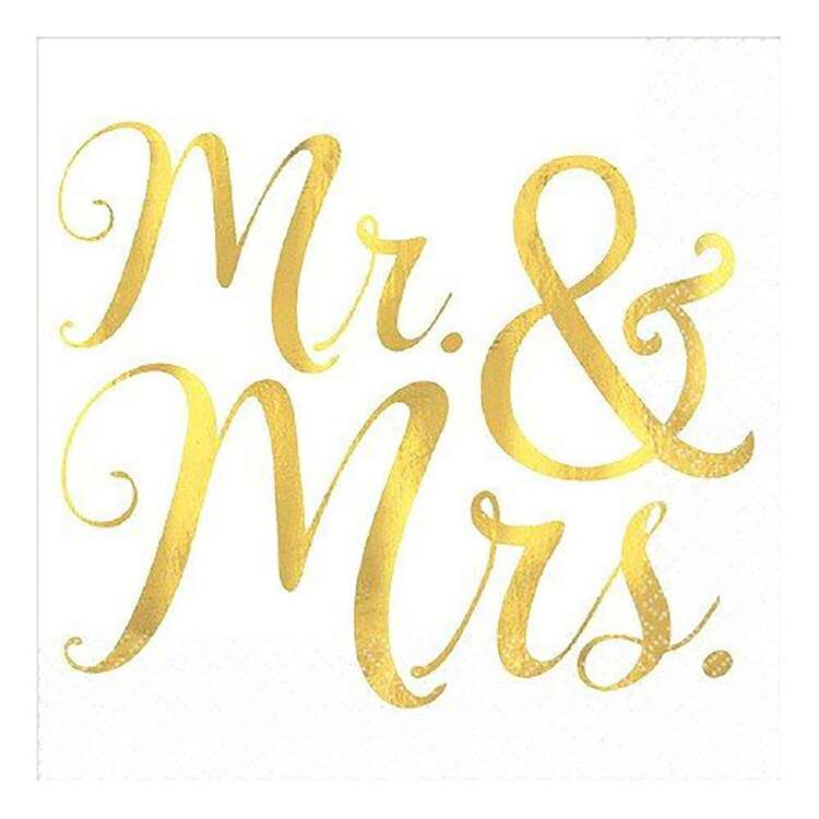 Amscan Wedding Mr. & Mrs. Beverage Napkins 16 Pack