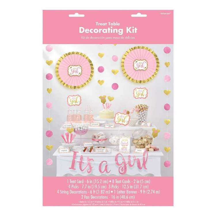 Amscan Baby Shower Pink Buffet Decorating Kit 23 Pieces