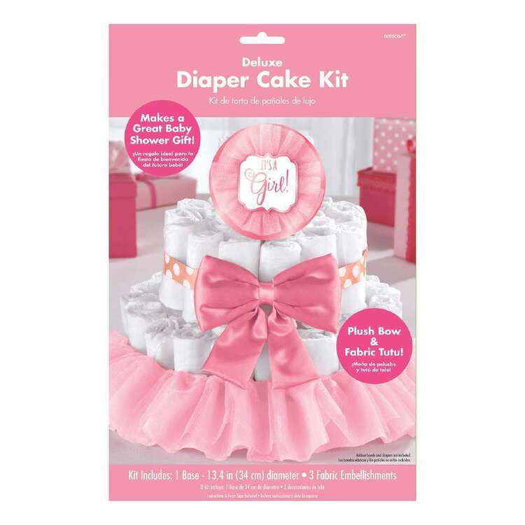 Amscan Baby Shower Pink Deluxe Diaper Cake Decorating Kit 4 Pieces
