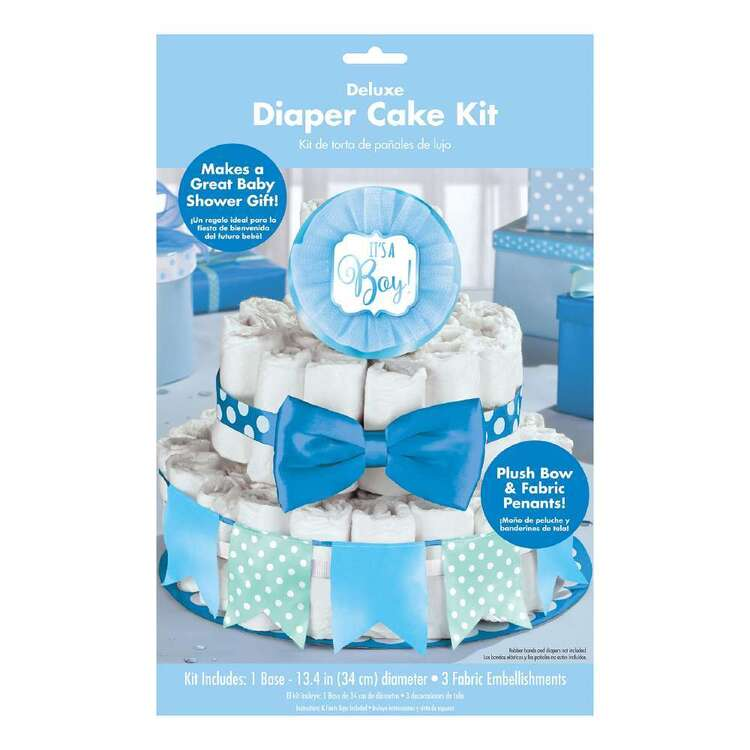 Amscan Baby Shower Blue Deluxe Diaper Cake Decorating Kit 4 Pieces