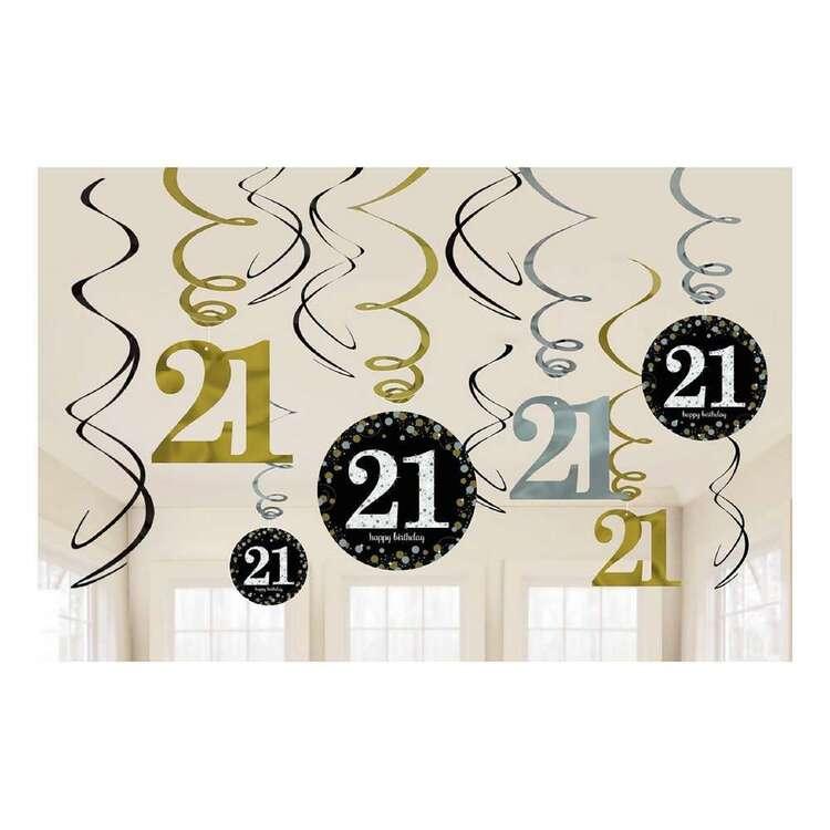 Amscan Sparkling Celebration 21st Swirl Decorations