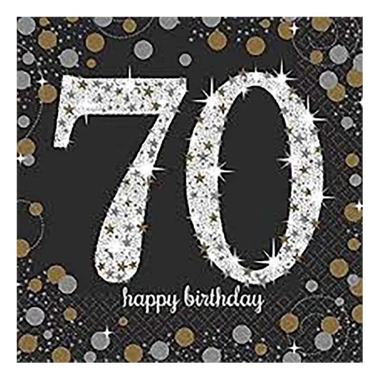 Amscan Sparkling Celebration 70th Lunch Napkins 16 Pack