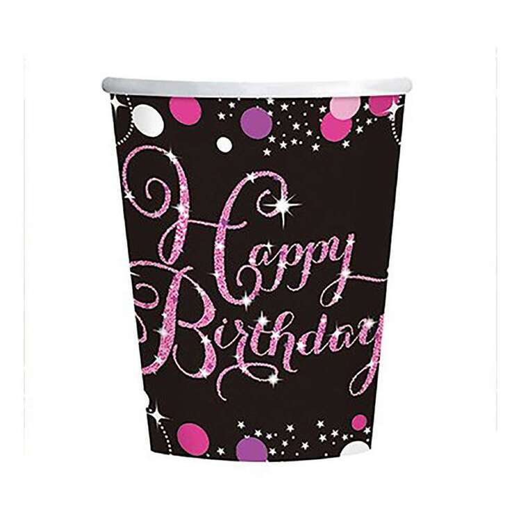 Amscan Pink Celebration Happy Birthday Cups 8 Pack