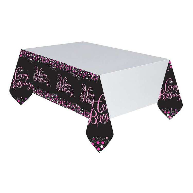 Amscan Pink Celebration Happy Birthday Plastic Table Cover