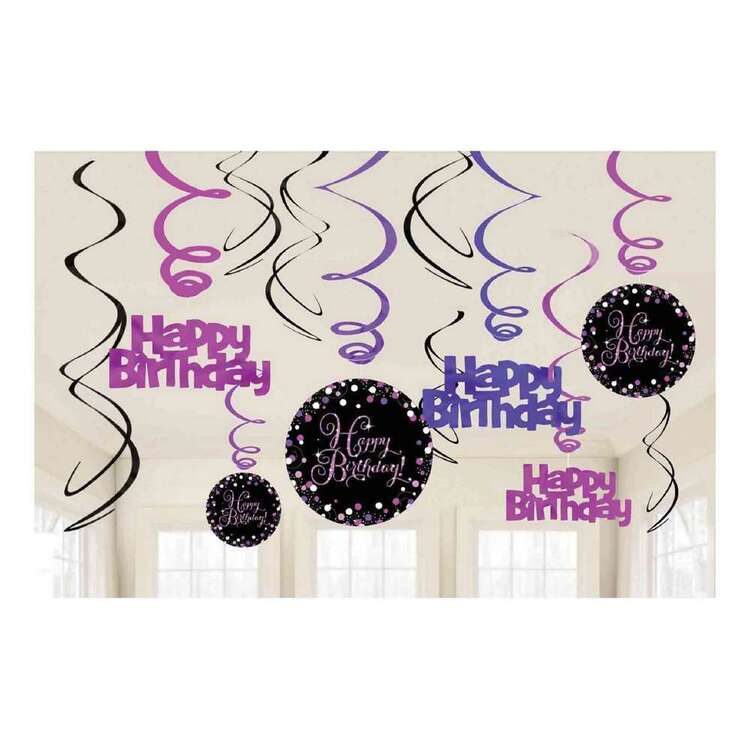 Amscan Pink Celebration Happy Birthday Swirl Decorations
