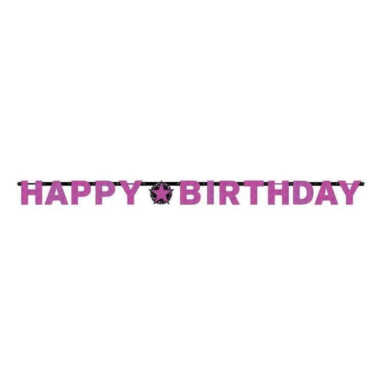Amscan Pink Celebration Happy Birthday Prism Letter Banner