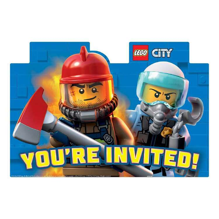 Amscan Lego City Party Postcard Invitations 8 Pack
