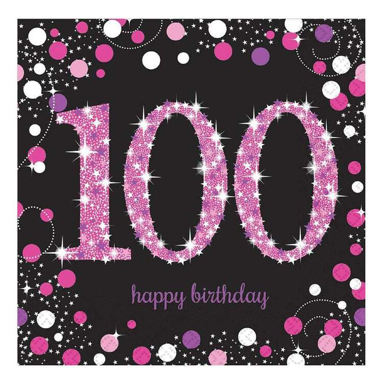 Amscan Pink Celebration 100th Lunch Napkins 16 Pack