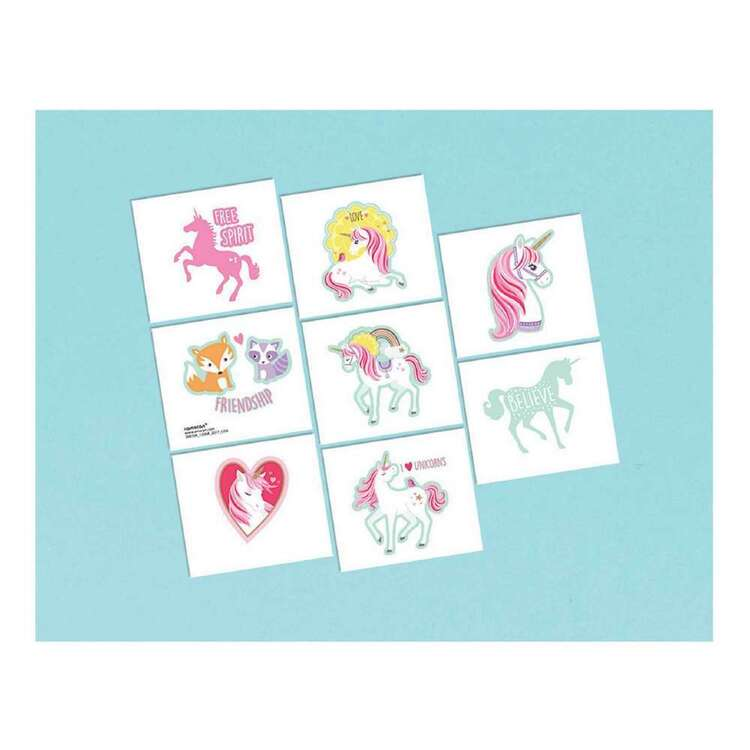 Amscan Magical Unicorn Tattoo Favours 8 Pack