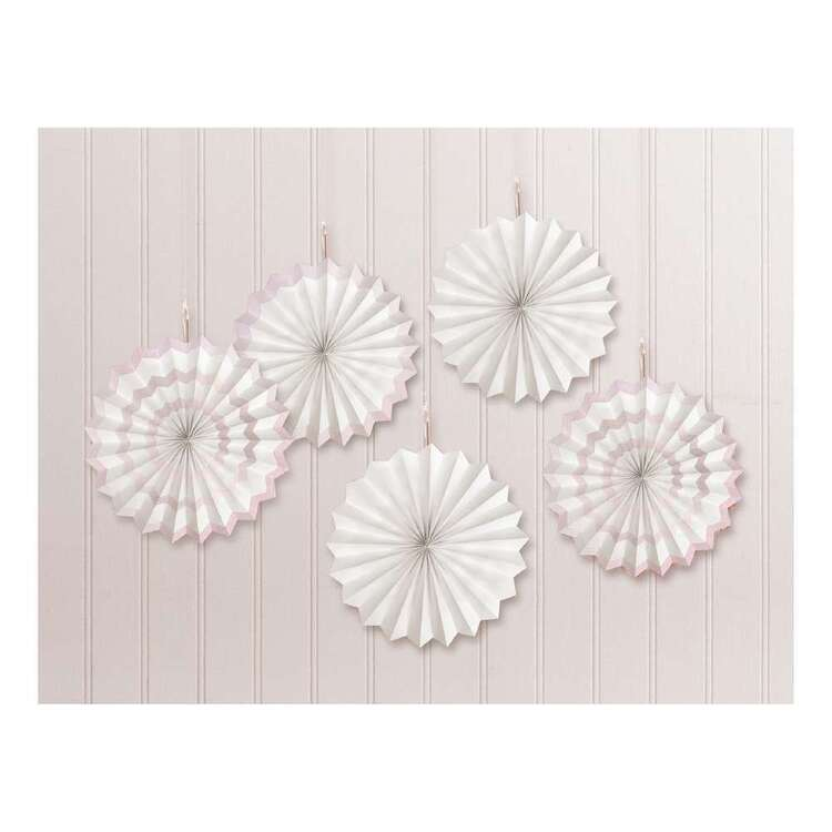 Amscan White Hot-Stamped Fan Decorations 5 Pack