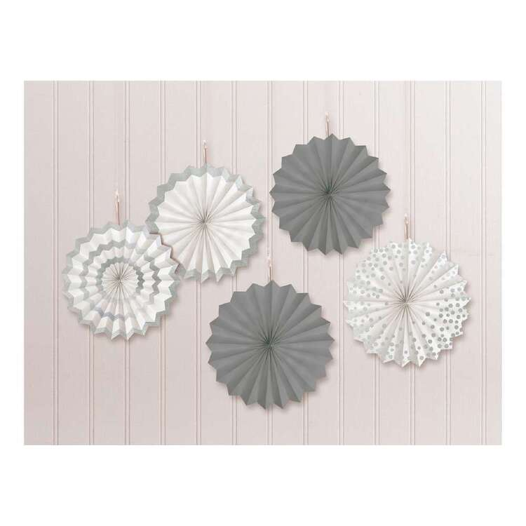 Amscan Silver Printed Fan Decorations