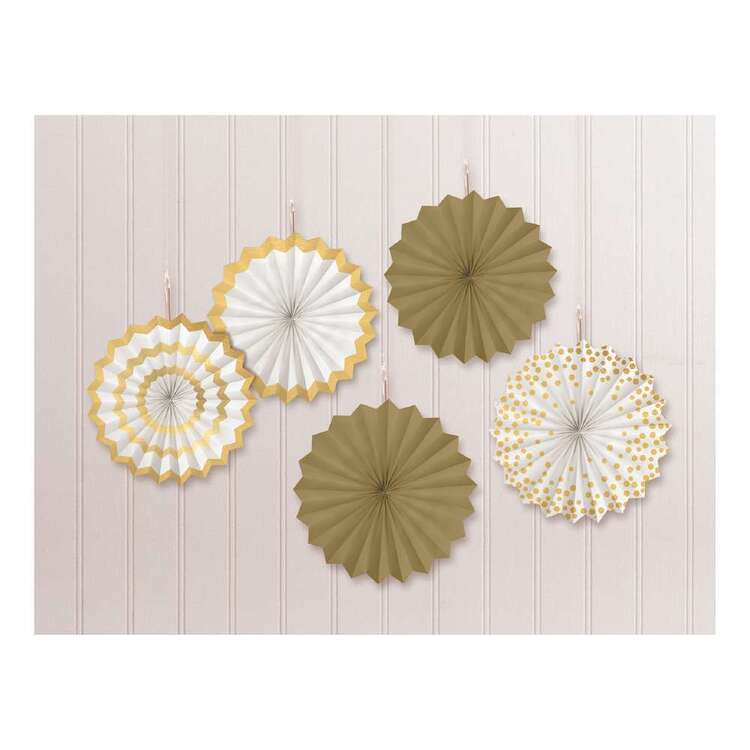 Amscan Gold Printed Fan Decorations 5 Pack