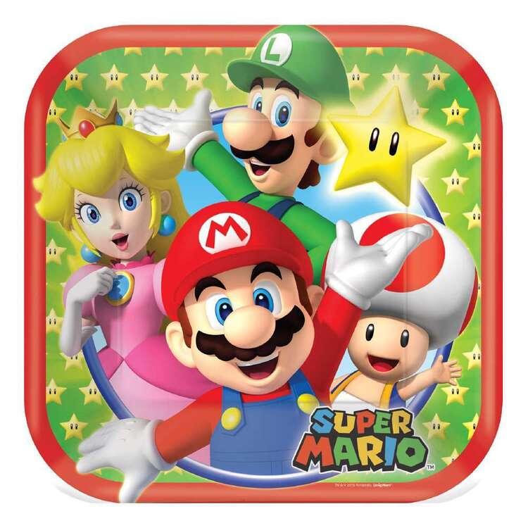 Amscan Super Mario Bros Square Plates 8 Pack