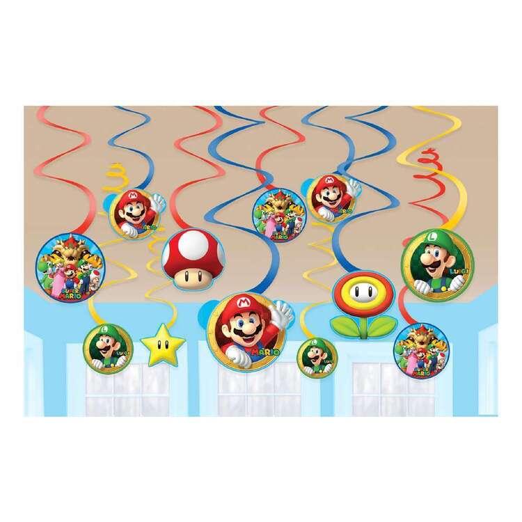 Amscan Super Mario Bros Swirl Decorations 12 Pack