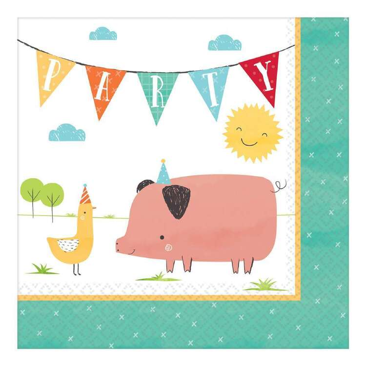 Amscan Barnyard Birthday Lunch Napkins 16 Pack