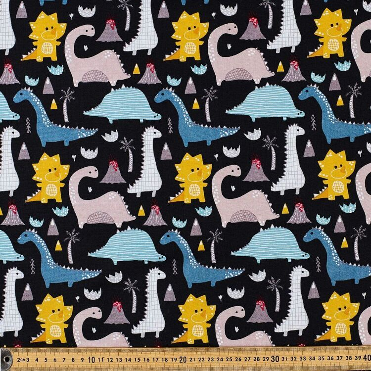 Dino Volcano Cotton Fabric