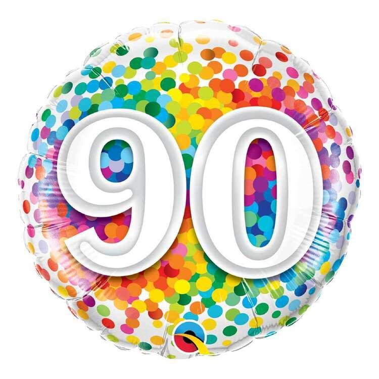 Qualatex 90th Rainbow Confetti Round Foil Balloon