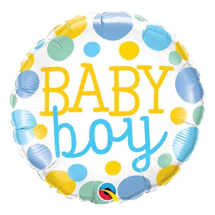 Qualatex Baby Boy Dots Round Foil Balloon