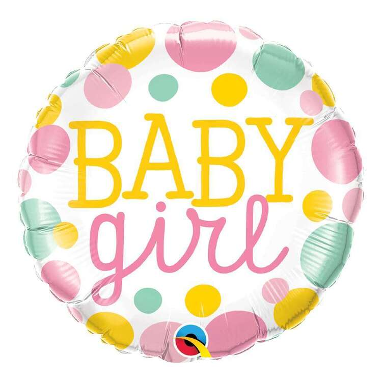 Qualatex Baby Girl Dots Round Foil Balloon