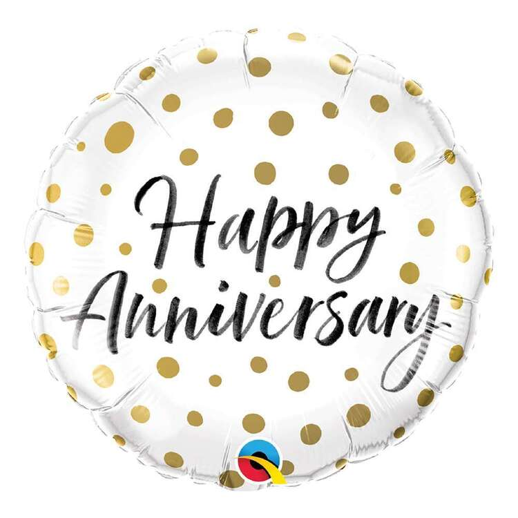 Qualatex Happy Anniversary Gold Dots Round Foil Balloon