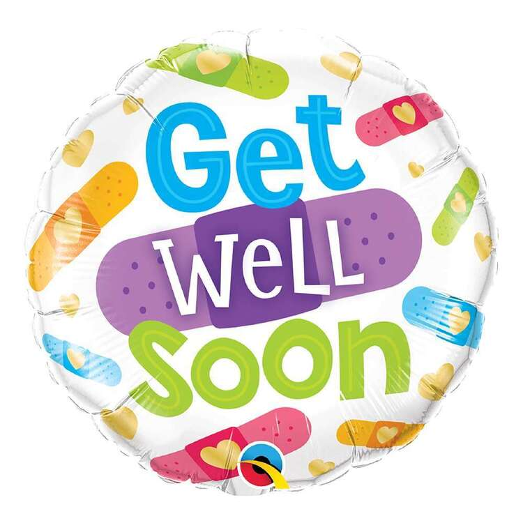 Qualatex Get Well Soon Bandages Round Foil Balloon