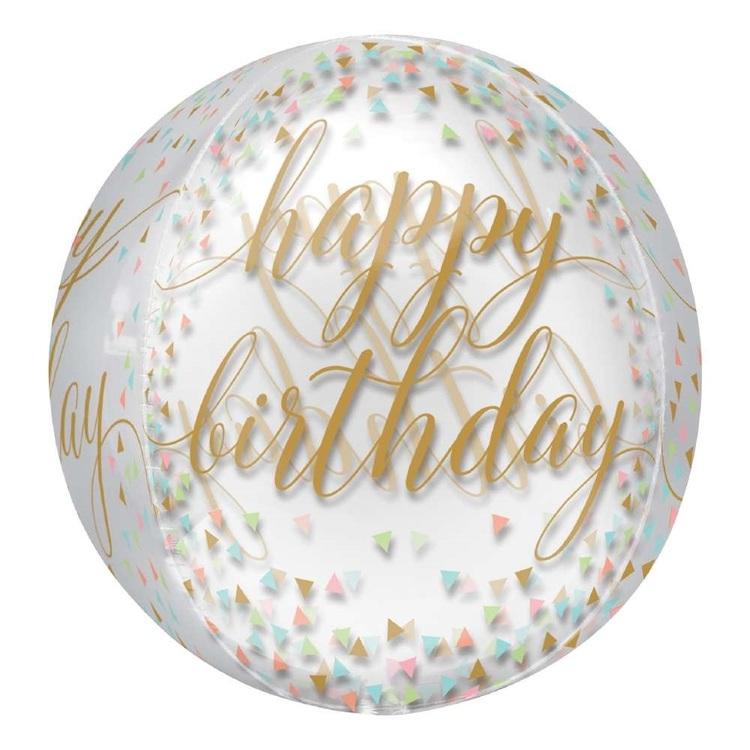 Anagram Happy Birthday Pastel Confetti Orbz Foil Balloon