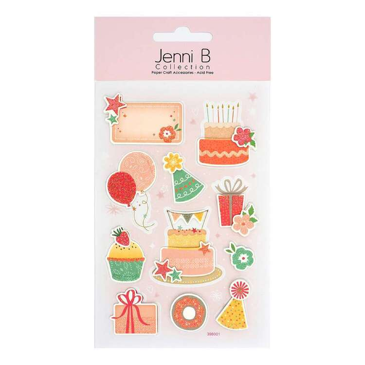 Jenni B 11 Pieces Birthday Cake Present Glitter Stickers