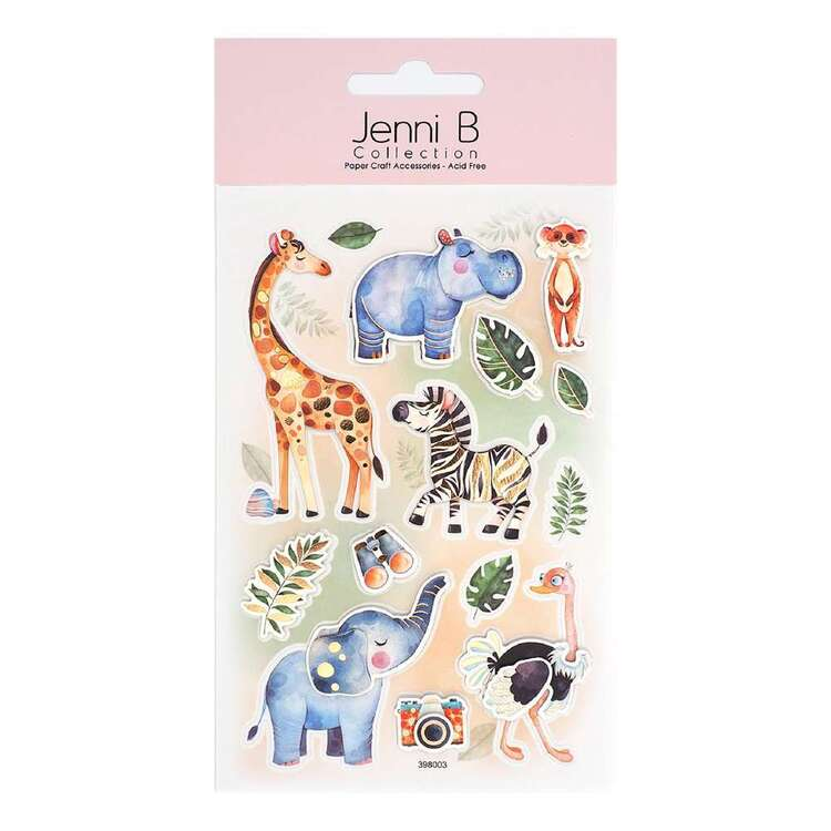 Jenni B 14 Pieces Animal Safari Watercolour Stickers