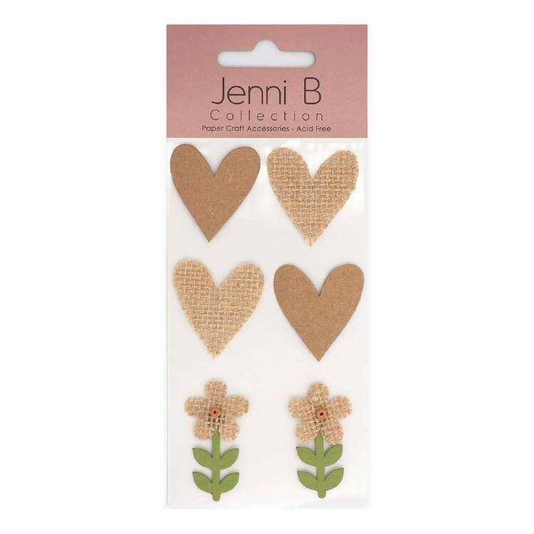 Jenni B Kraft Burlap Hearts & Flower Stickers