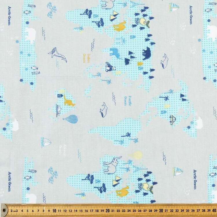 World Map Multipurpose Cotton Fabric