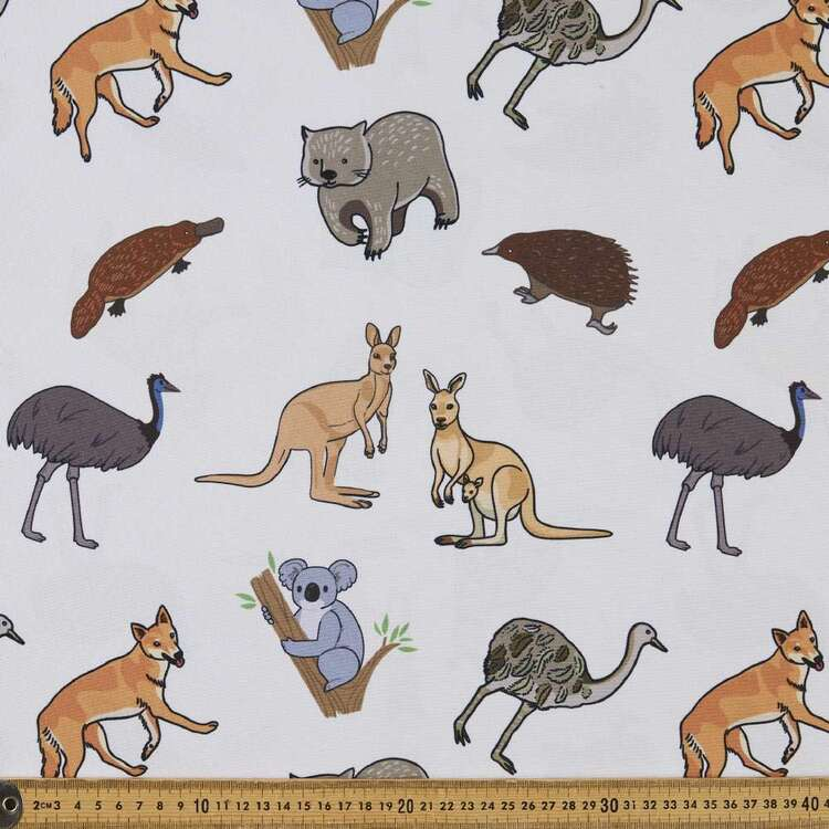 Party Play Aussie Animal Printed Taffeta Fabric