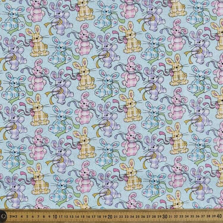 Gingham Bunny Printed 112 cm Sparkle Poplin Fabric