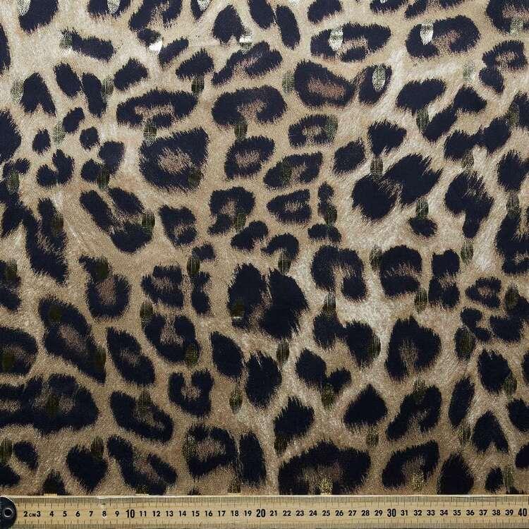 Gold Foil Leopard Printed Satin Fabric