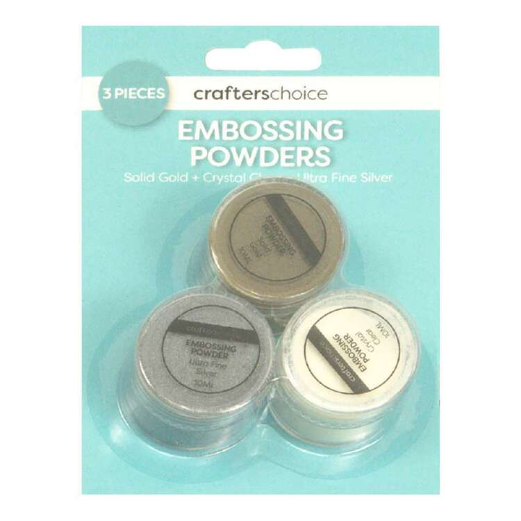 Crafters Choice Gold, Clear & Silver Embossing Trio Pack