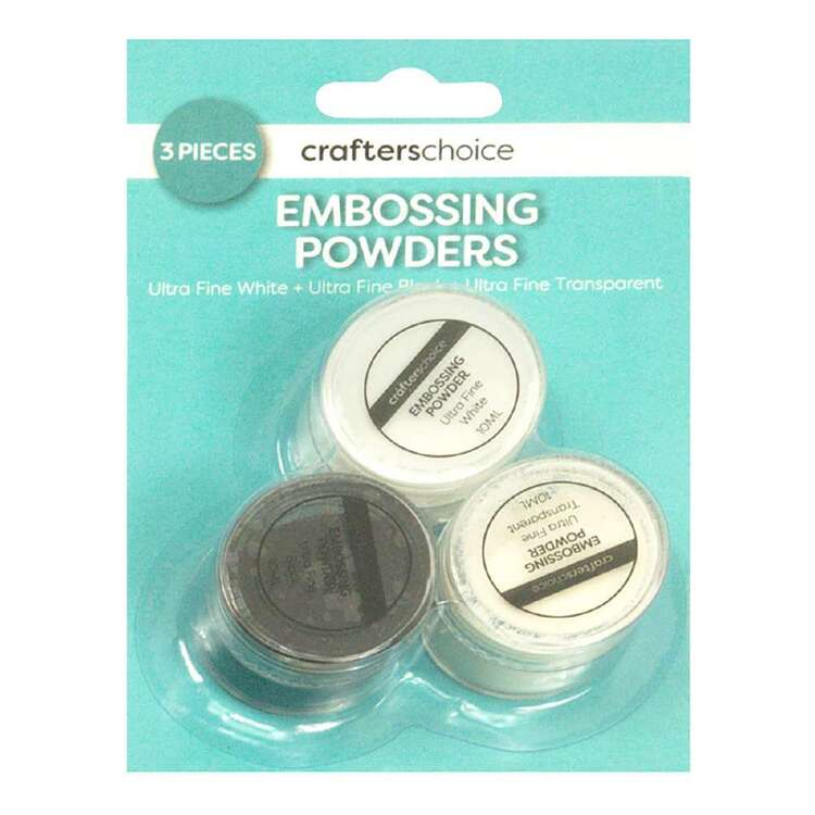 Crafters Choice White, Black & Transparent Embossing Trio Pack