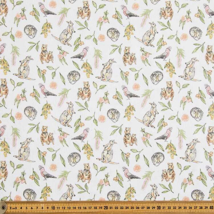 Bush Babies Printed 112 cm Flannelette Fabric