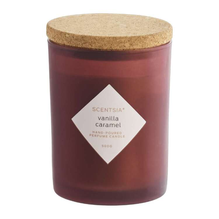 Scentsia Vanilla Caramel Scented 500g Candle With Cork Lid